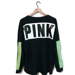 Victoria's Secret PINK Black Crew Sweatshirt Large